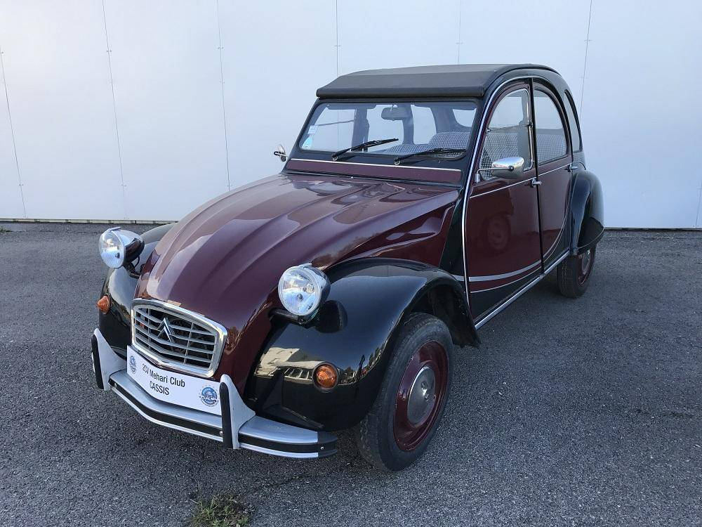 2cv6 charleston bordeaux et noire 1987 mehari 2cv club cassis. Black Bedroom Furniture Sets. Home Design Ideas